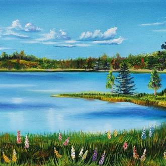 """Картина маслом """"Аляска"""" 20х30 см, Пейзаж"""