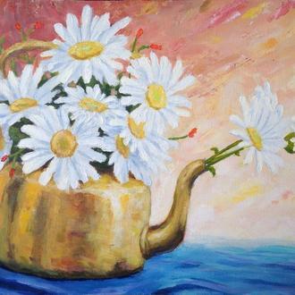 """Картина ручной работы """"Ромашки в чайнике"""" 44*33 акрил, холст"""