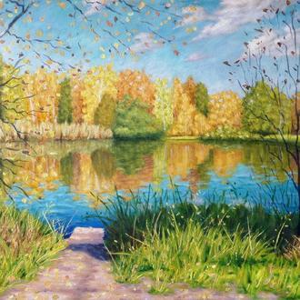 """Картина ручной работы """" Осенний день """" 51x39 см акрил, холст"""