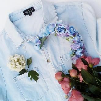 Ободок голубые розы