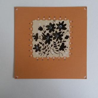 Поздравительная открытка с цветами. Открытка ручной работы. Тушь