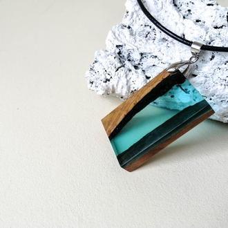 Голубой кулон для девушки, деревянный кулон с эпоксидной смолой, подвеска геометрической формы