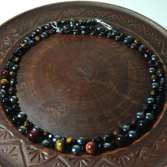 Ожерелье (бусы) двухрядные из натурального камня тигровый глаз,оникс и гематит разной огранки