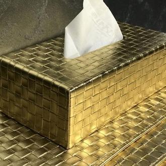 Кожаная Золотая Салфетница Прямоугольная Боттега Премиум Декор Офиса Ванной ВИП Подарок