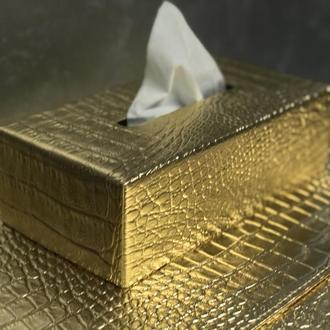 Кожаная Золотая Салфетница Крокодил Прямоугольная Премиум Декор Офиса Ванной ВИП Подарок