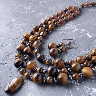Комплект украшений из натуральных камней тигровый глаз и гематит