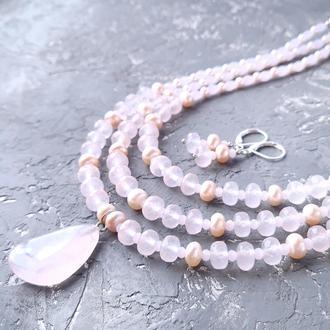 Комплект из натуральных камней розовый кварц и натурального жемчуга