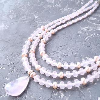 Колье из натуральных камней розовый кварц и натурального жемчуга