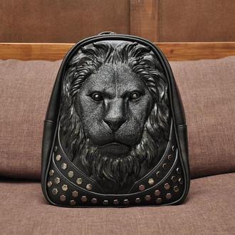 Модный кожаный рюкзак 3d с мордой льва (3д Лев) Черный рюкзак со львом