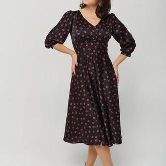 Шёлковое платье миди с корсетным поясом и юбкой полусолнце
