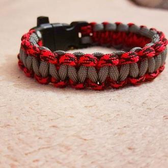 Мужской браслет, красный браслет, серый браслет, браслет из паракорда