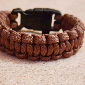 мужской браслет , коричневый браслет , браслет из паракорда
