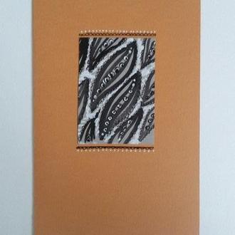 Поздравительная открытка с листьями-огурцами. Открытка ручной работы. Тушь