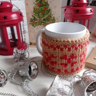Новорічні чашки в свитерках для двох, милий теплий подарунок
