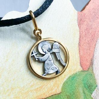 Кулон Ангелок Шагающий, серебро 925° с позолотой 999