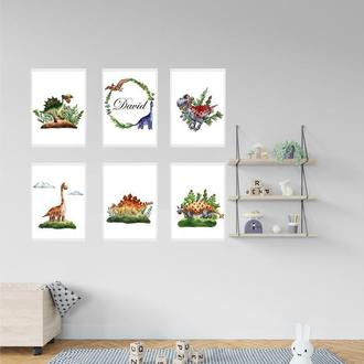 Набор из 6 постеров Dinos