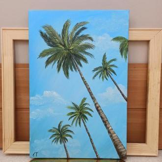 """Картина маслом """"Тропический Пляж"""" 30*45"""