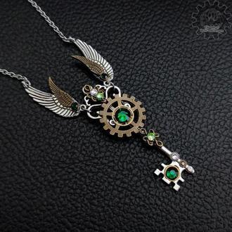 (в наличии серебристый с зеленым 1 шт.)  Полет - кулон ключ в стиле steampunk fantasy