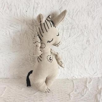 Еко іграшка з льону для самих маленьких. Авторська. Єдиноріг / конячка з ініціалами. Буква С.