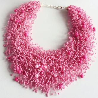 Розовое воздушное ожерелье Эксклюзивный подарок Шикарное колье