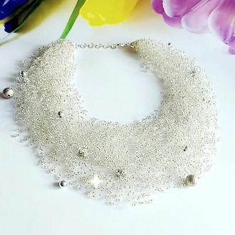 Серебрянное воздушное ожерелье Блестящее украшение Эксклюзивный подарок Шикарное колье