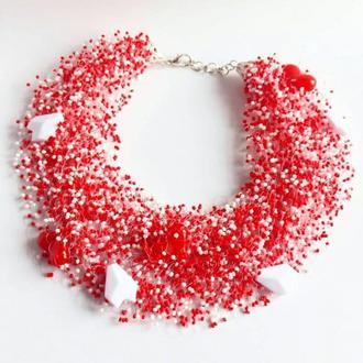 Колье серьдце из бисера Ожерелье на день Святого Валентина Стильное эксклюзивное колье