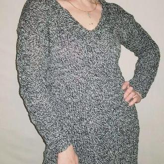 Платье теплое черно белый меланж, Длинный свитер туника