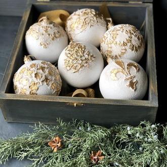 Набор новогодние елочные шары, ручная работа