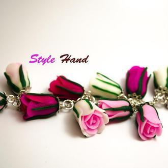 Браслет тюльпаны , браслет с розами , браслет с тюльпанами