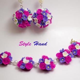 """Комплект """"квіткові кулі"""", сережки квіткові кулі, браслет квіткові кулі з полімерної глини"""