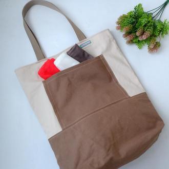 Эко сумка для покупок, еко торба, эко пакет, шоппер, бежевая сумка