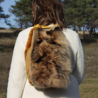 Женский рюкзак, Рюкзак из натурального меха енота и стриженой овчины, Рюкзак из меха