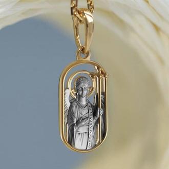 Подвеска кулон крестик ангел хранитель женский мужской детский серебро 925°, позолота 999