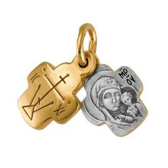 Крестик нательный детский младенческий подростковый крестильный, серебро 925° с позолотой 999