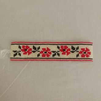 Браслет  из бисера, плотного плетения