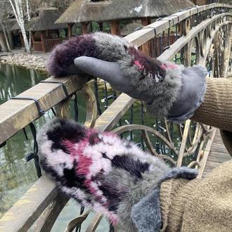 Варежки меховые норка-овчина вязаные