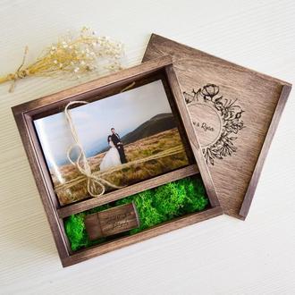 Коробочка для фото 10х15 із відділеннмя для флешки вінтаж