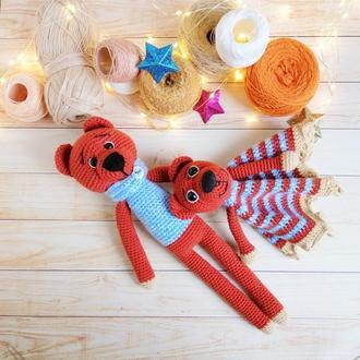 Детский комфортер и мягкая игрушка мишка, набор для новорожденного