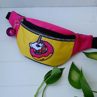 Сумка-бананка с единорогом, поясная розовая сумка, детская бананка Unicorn