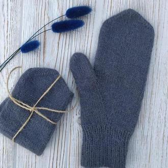Вязаные пуховые варежки, теплые рукавички