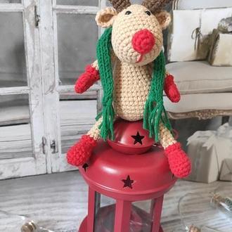 Олень, игрушка крючком, вязаная игрушка, подарок на Новий Год