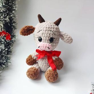 Детская плюшевая игрушка Бычок новогодний символ 2021