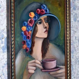Дама с чашкой чая, размер 20х30см