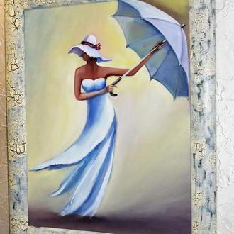 Девушка с зонтом,35х45см размер холста,живопись