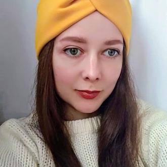 Пов'язка на голову чалма жовта жіноча тюрбан вузлик для волосся на флісі