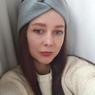 Повязка на голову чалма серая женская тюрбан узелок для волос на флисе