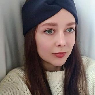 Повязка на голову чалма темно синяя женская узелок для волос на флисе