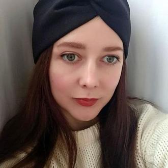 Повязка на голову чалма черная женская тюрбан узелок для волос на флисе