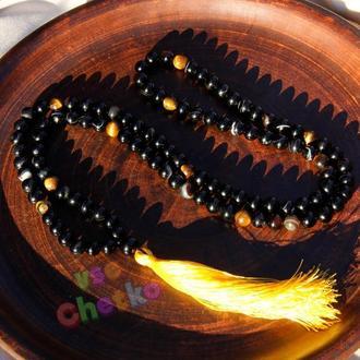 Четки мала на 108 бусин из черного агата и тигрового глаза