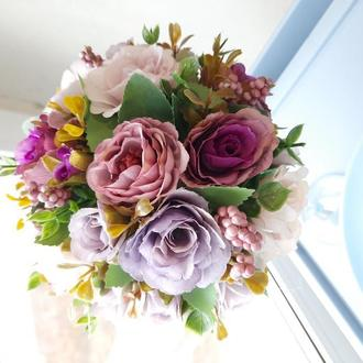 Цветочный топиарий. Украшение для праздника. Свадебный декор.